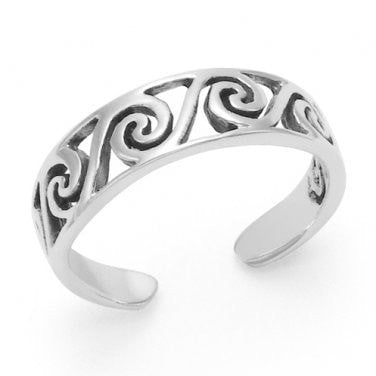 925 Sterling Silver Surf Wave Oxidized Adjustable Toe Ring - SilverMania925