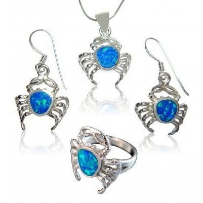 925 Sterling Silver Hawaiian Blue Opal Crab Ring Pendant Dangle Earrings Set - SilverMania925