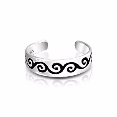 925 Sterling Silver Celtic Irish Swirl Whirl Adjustable Pinky Toe Ring - SilverMania925