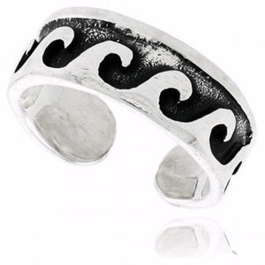 925 Sterling Silver Surf Nautical Wave Oxidized Adjustable Toe Ring - SilverMania925