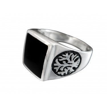 925 Sterling Silver Men's Celtic Tree Of Life Black Rectangular Onyx Ring 9gr - SilverMania925