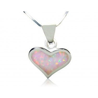 925 Sterling Silver White Opal Heart Love Charm Pendant