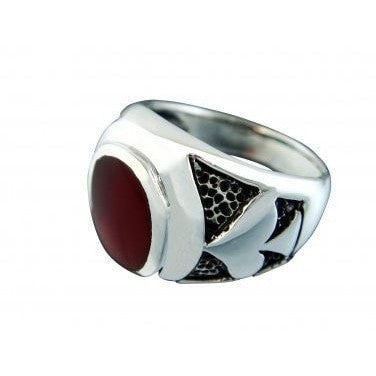 925 Sterling Silver Mens Spade Poker Casino Card Game Las Vegas Oval Carnelian Ring - SilverMania925