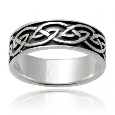 925 Sterling Silver Celtic Interwoven Infinity Knots Irish Wedding Band Ring