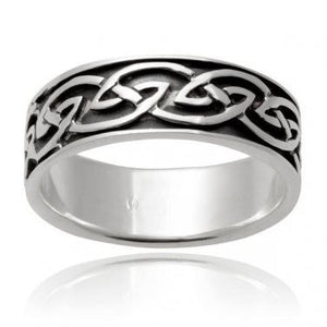 925 Sterling Silver Celtic Interwoven Infinity Knots Irish Wedding Band Ring - SilverMania925