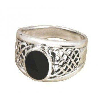 925 Sterling Silver Men's Oval Black Onyx Celtic Woven Knot Ring - SilverMania925