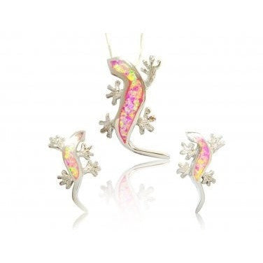 925 Sterling Silver Pendant Stud Earrings Set Pink Opal Lizard - SilverMania925