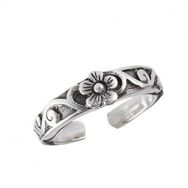 925 Sterling Silver Flower Oxidized Adjustable Pinky Toe Ring - SilverMania925