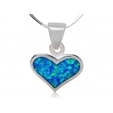 925 Sterling Silver Hawaiian Blue Fire Opal Heart Love Charm Pendant - SilverMania925