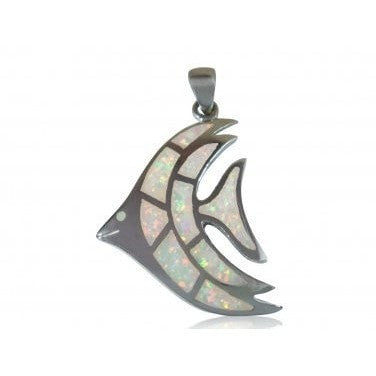 925 Sterling Silver White Fire Inlay Opal Sea Fish Big Pendant 8gr - SilverMania925