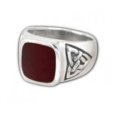 925 Sterling Silver Men's Rectangle Carnelian Celtic Irish Trinity Knot Ring