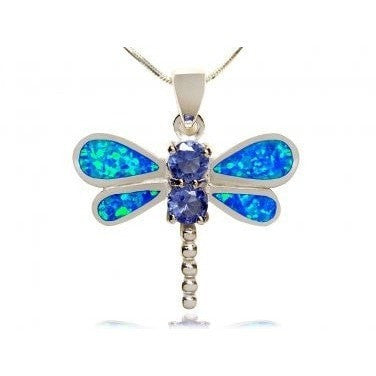 925 Sterling Silver Pendant Blue Opal Cubic Zirconia Dragonfly - SilverMania925