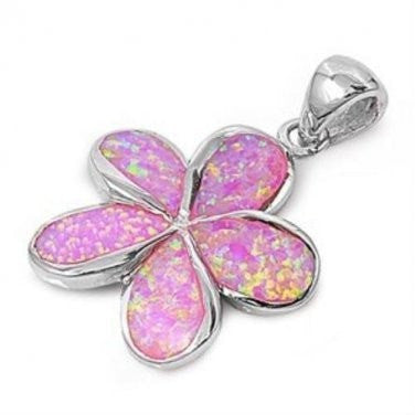925 Sterling Silver Pink Fire Inlay Opal Beautiful Plumeria Flower Pendant - SilverMania925