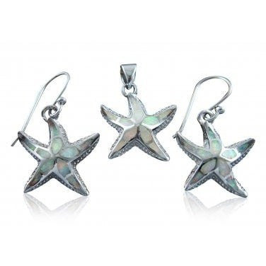 925 Sterling Silver White Opal Starfish Pendant Earrings Set - SilverMania925