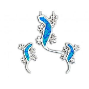 925 Sterling Silver Hawaiian Blue Opal Lizard Pendant Stud Earrings Set - SilverMania925