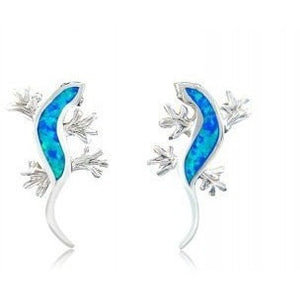 925 Sterling Silver Hawaiian Blue Fire Inlay Opal Lucky Lizard Stud Earrings Set - SilverMania925
