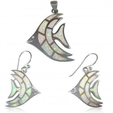925 Sterling Silver White Fire Opal Fish Pendant Dangle Earrings Jewelry Set