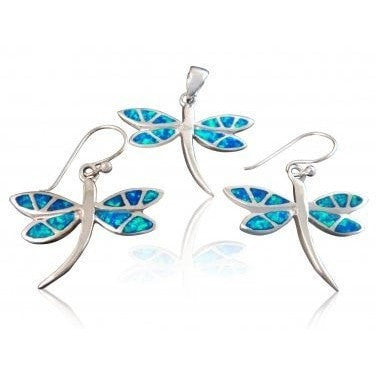 925 Sterling Silver Hawaiian Blue Opal Dragonfly Dangle Earrings Pendant Set - SilverMania925