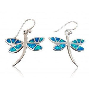925 Sterling Silver Hawaiian Blue Fire Inlay Opal Dragonfly Dangle Earrings Set - SilverMania925