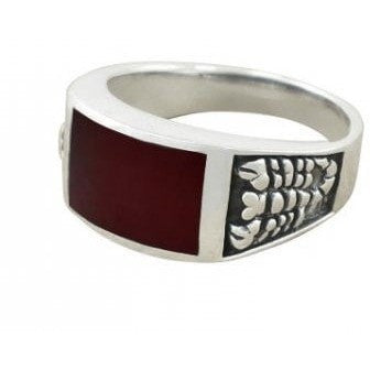 925 Sterling Silver Men's Scorpion Rectangular Genuine Carnelian Ring - SilverMania925