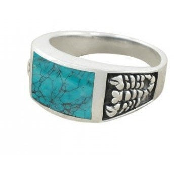 925 Sterling Silver Men's Scorpion Rectangular Genuine Turquoise Ring - SilverMania925