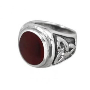 925 Sterling Silver Mens Oval Gemstone Carnelian Celtic Irish Triquetra Engraved Ring - SilverMania925