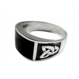 925 Sterling Silver Men's Rectangle Black Onyx Celtic Irish Knot Triquetra Ring