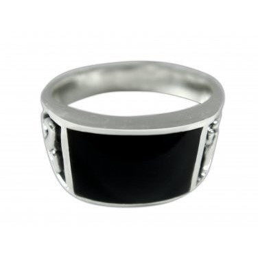 925 Sterling Silver Men's Rectangle Black Onyx Celtic Irish Knot Triquetra Ring - SilverMania925