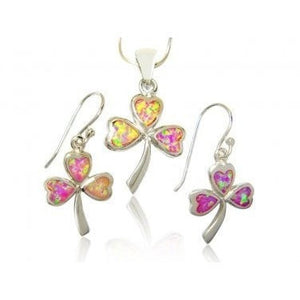 925 Sterling Silver Pink Fire Inlay Opal Celtic Irish Shamrock Clover Pendant Earrings Set - SilverMania925