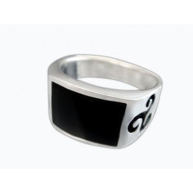 925 Sterling Silver Men's Onyx Celtic Symbol Irish Engraved Sides Solid Ring - SilverMania925