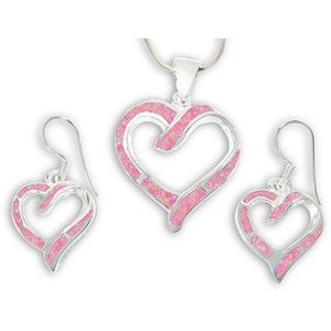 925 Sterling Silver Pink Fire Inlay Opal Love Heart Dangle Earrings Pendant Set - SilverMania925