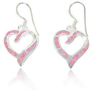 925 Sterling Silver Pink Fire Inlay Opal Love Heart Dangle Earrings Set - SilverMania925