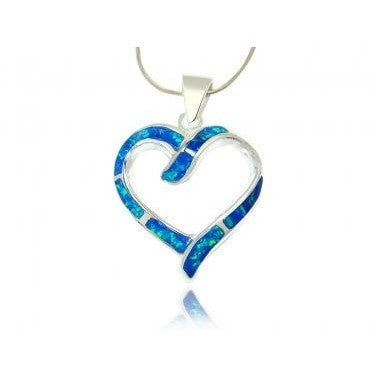 925 Sterling Silver Hawaiian Blue Fire Inlay Opal Love Heart Charm Big Pendant - SilverMania925