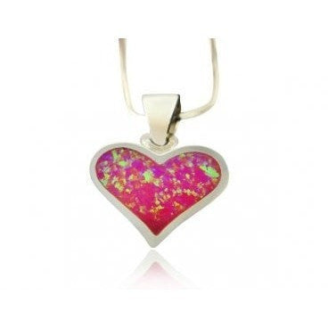 925 Sterling Silver Pink Fire Inlay Opal Heart Love Charm Pendant - SilverMania925
