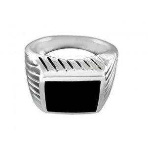 925 Sterling Silver Mens High Polish Black Onyx Striped Sides Ring - SilverMania925