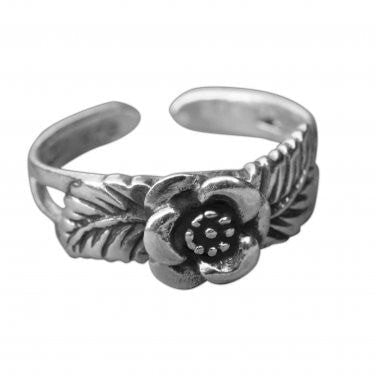 925 Sterling Silver Rose Leaf Oxidized Adjustable Pinky Toe Ring - SilverMania925
