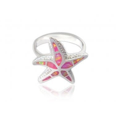 925 Sterling Silver Pink Inlay Fire Opal 3D Sea Starfish Lovely Ring - SilverMania925