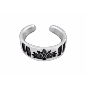925 Sterling Silver Maple Leaf Oxidized Adjustable Pinky Toe Ring