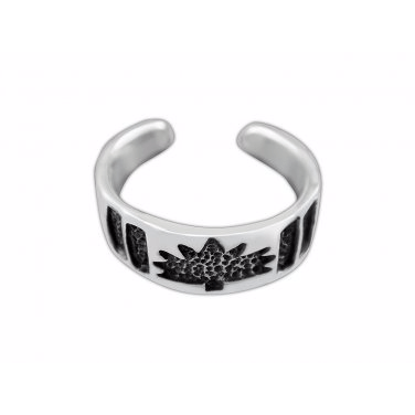 925 Sterling Silver Maple Leaf Oxidized Adjustable Pinky Toe Ring - SilverMania925