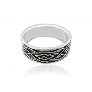 925 Sterling Silver Celtic Knot Irish Oxidized Unisex Band Ring - SilverMania925