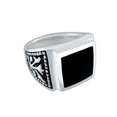 925 Sterling Silver Mens Black Onyx Celtic Irish Engraved Sides Ring - SilverMania925