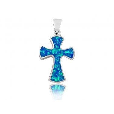 925 Sterling Silver Hawaiian Blue Fire Inlay Opal Gothic Cross Charm Pendant - SilverMania925