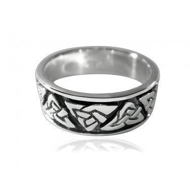 925 Sterling Silver Celtic Irish Triquetra Trinity Knots Wedding Band Oxidized Ring - SilverMania925