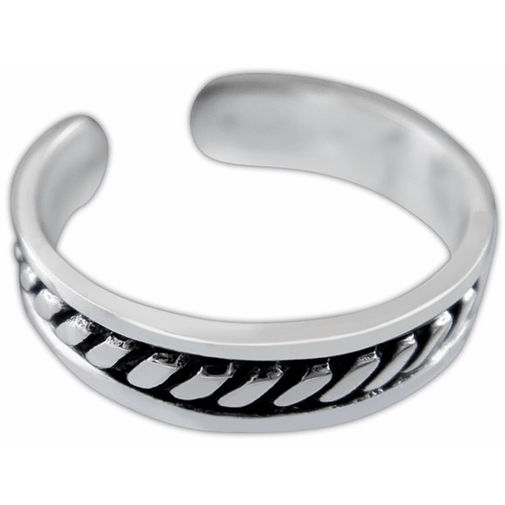 925 Sterling Silver Bali Style Twist Oxidized Adjustable Pinky Toe Ring - SilverMania925