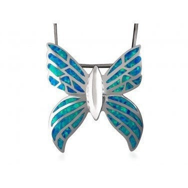 925 Sterling Silver Hawaiian Blue Inlay Fire Opal Butterfly Monark Big Charm Pendant 9gr - SilverMania925