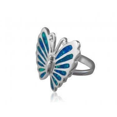 925 Sterling Silver Hawaiian Blue Fire Inlay Opal Lovely Butterfly Ring - SilverMania925