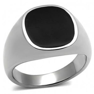 925 Sterling Silver Mens Black Inlay Onyx High Polish Classic Band Solid Ring - SilverMania925