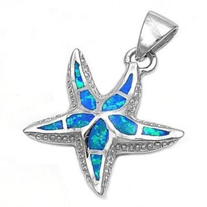 925 Sterling Silver Blue Fire Inlay Opal Sea Starfish 3D Charm Pendant - SilverMania925