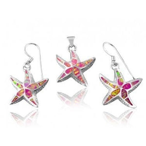 925 Sterling Silver Pink Fire Inlay Opal Starfish Pendant Dangle Earrings Set - SilverMania925
