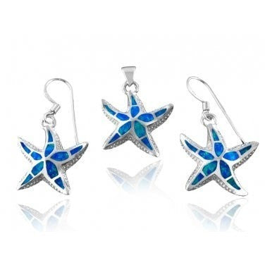 925 Sterling Silver Hawaiian Blue Fire Inlay Opal Starfish Pendant Dangle Earrings Set - SilverMania925